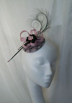 Black & Pale Sugar Pink Lace Covered Isadora Fascinator Mini Hat Curl Feathers and Pearls - 'Custom Made To Order'
