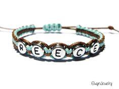 Kid Bracelet, Name Bracelet, Baby Boy Bracelet, Child, Personalized Jewelry, Knot, Cord, Brown, Turquoise, Friendship Bracelet on Etsy, $9.50