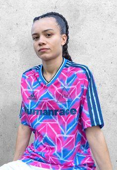 adidas x Pharrell Launch Human Race Jersey Collection - SoccerBible Arsenal Shirt, Adidas Design, Bespoke Shirts, Classic Football Shirts, Fc Bayern Munich, Football Outfits, Pharrell Williams, Man United, Manchester United