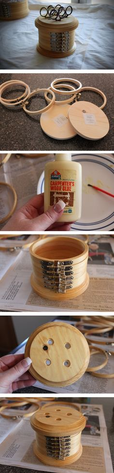 Neat idea!  2-in-1 storage box and scissor holder - from small embroidery hoops ad wooden disks. :)  Tutorial on how to make.
