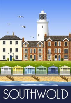 Travel poster of Southwold Lighthouse, Beach & Huts, Suffolk. Travel poster of Southwold Lighthouse, Beach & Huts, Suffolk. Posters Uk, Railway Posters, Modern Posters, Retro Posters, British Travel, British Seaside, British Isles, Suffolk Coast, Suffolk England