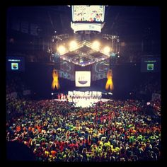"""THON 2012 {Brighten Every Journey} this has become one of my favorite things about my school. """"one day we will dance in celebration, until then we will dance for a cure."""" FTK always."""
