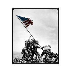 United States Marine Corps In Iwo Jima USMC Custom Fleece Blanket Throw Blanket 50 x 60 Medium