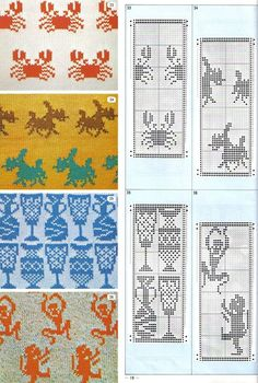 knit:  free charts.   look at those cute little crabs!!!  <3 for the monkeys