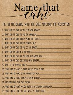 Name That Cake Bridal Shower Game . Printable Instant Download #BridalShowerFavors