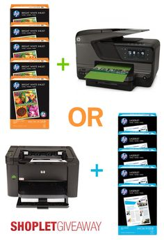 This week's giveaway from HP is so cool! We are giving away two Hewlett-Packard printers and 10 reams of HP paper! Come to our Shoplet blog to find out more! Shoplet.com - everything for your business. #giveaway