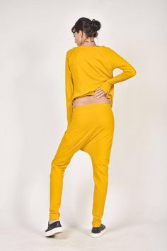 10bbdf128a2d SALE NEW Loose Casual Yellow Drop Crotch Harem Pants   Burgunder-hosen,  Hose Mit