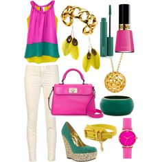 Pink + Green + Yellow, created by jemevangelista on Polyvore