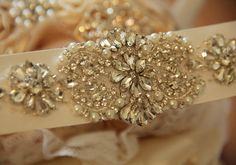 crystal rhinestone applique with pearls for bridal by lacetime