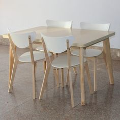 IKEA style dining table and chairs rectangular tables wood laminate table and four chairs table chairs minimalist small apartmen _ {categoryName} - AliExpress Mobile Ikea, Wood Laminate, Dining Table Chairs, Wishbone Chair, Minimalist Fashion, Korean Fashion, Korean Style, Birch, Furniture