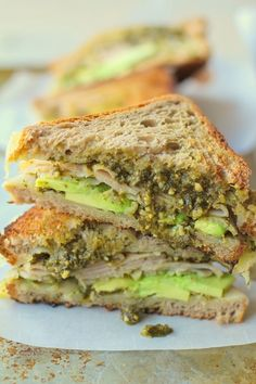 Turkey Pesto Avocado Grilled Cheese Sandwiches with @udisglutenfree rye bread #healthy #lunch #recipe