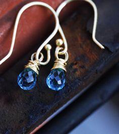 14k Gold Fill Topaz Earrings  Swiss Blue by ClaudetteTreasures