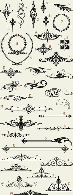 tattoo -                                                      Letterhead Fonts / LHF Americana Ornaments / Golden Era Studios