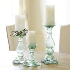 3 Glass Candle Holders for $85.00 from Ballard Designs. I found them at Goodwill for $18.00 for all three. All in perfect condition and a bargain. - MRW