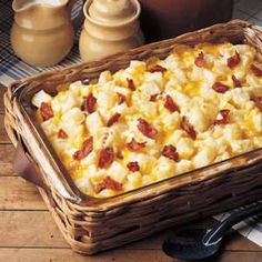 Cheesy Potato Casserole 9med.Potatoes,1-pkg.(16oz) Velveeta,cubed, 1cup chopped onion, 2c Mayo, 1/2lb. bacon cooked  (divided) cook potatoes in salt water til tender,drain Peel In large bowl combine cheese, onion, mayo & 1/2 bacon, potatoes. Mix & spoon into 13x9 baking dish. top w/ rest of bacon. Bake uncovered at 350 for 50 mins. or til top browned. Feeds 10