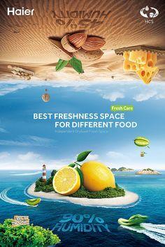 Haier overseas refrigerator Creative scheme,Independent Dry&wet Fresh Space Food Graphic Design, Food Poster Design, Freelance Graphic Design, Graphic Design Posters, Ad Design, Ads Creative, Creative Posters, Creative Advertising, Advertising Design