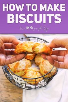 Learn how to make Homemade Biscuits using my simple step-by-step recipe and folding technique! The Best Biscuit recipe you'll ever need with video! #biscuits #easy #delicious #homemade #biscuitsrecipe | TwoPurpleFigs.com @TwoPurpleFigs Best Breakfast, Breakfast Recipes, Scone Recipes, Breakfast Biscuits, Bread Recipes, Sweet Recipes, Vegan Recipes, Cooking Recipes, Cookbook Recipes