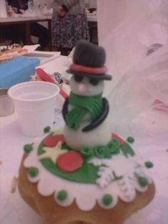 christmas pandoro with snowman decoration