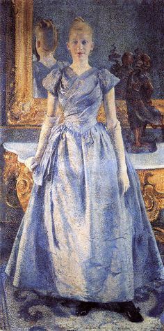 Portrait of Alice Sethe, 1888  Theo van Rysselberghe /// This painting allows us to see her hairstyle. While maybe not a super groundbreaking and crazy use of a mirror, its interesting from a historical fashion perspective.