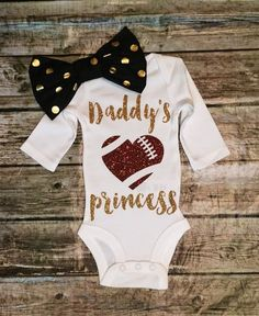 "For watching games with Mama and Daddy! Baby Girl Daddy""s Princess Onesie, Football Bodysuit, Princess Shirt, Football Girls Shirt Baby Outfits, Kids Outfits, Toddler Outfits, Toddler Girls, Lila Baby, My Baby Girl, Pheonix Marie, Baby Girl Fashion, Kids Fashion"
