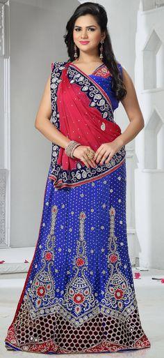 USD 208.83 Blue Satin Chiffon Wedding Lehenga Saree 43902