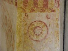 Crismón en el altar de San Salvador de Valdediós.