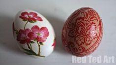 Napkin Decoupage Eggs. Wonderful. So pretty! So delicate!