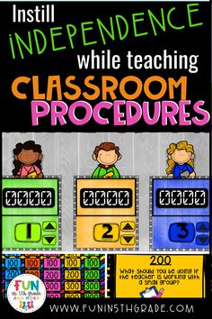 Classroom procedures can be tricky to teach in an engaging or exciting way that actually gets through to your students.  Angie, from Fun in 5th Grade, has some great ideas on how to teach classroom procedures this year.  Check out this blog post and find out how to instill independence while teaching classroom procedures this year when going back to school.  Students will take more pride in learning the procedures when given independence! Classroom Routines And Procedures, Classroom Management Strategies, Classroom Incentives, First Day Of School Activities, Teaching Activities, Teaching Resources, Teaching Ideas, Student Rewards, Seventh Grade