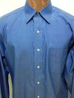 Brooks Brothers Blue Long-Sleeve Cotton Shirt 15 1/2 - 33 Non-Iron  #BrooksBrothers