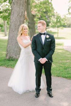 Smiles as they see one another for the first time! http://www.stylemepretty.com/new-york-weddings/new-rochelle-new-york/2016/10/25/ivory-rose-gold-pink-wedding/ Photography: Love and Light - http://loveandlightphotographs.com/