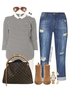 Plus Size Stripes & Booties Outfit