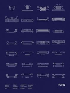 Auto Icon Screen Print Series: Ford by nomodesignshop on Etsy