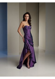 Wedding dress online shop - Taffeta Sweetheart Neckline Strapless Neckline Rouched Bodice with Asymmetrically Dropped Waistline and Ruffle Hign-Low Skirt A-Line Style 2011 Hot Sell Dress P-0630