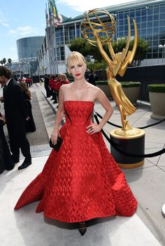 STYLE UPDATE FROM THE EMMY'S RED CARPET January Jones from Mad Men at the Television Academy / Primetime Emmys in Prabal Gurung gown, Jack Vartanian Universe diamond ear climber and a CARLA AMORIM Brazilian Jewelry black diamond ring.  Photo: Michael Buckner/Getty Images #Inspiration to create your #fabrics and designs! Digitally print your own unique fabric and style your own wardrobe in India. #fashion #print www.chimoraprint.com
