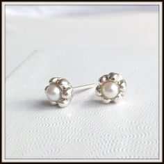 Mini Flower Pin Stud Earrings sterling silver by LucilleParenteau