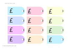 Luggage Labels or Price Tags £ (pound),  P (pence) and plain