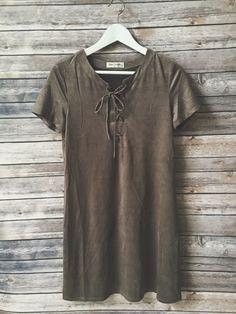 Carleigh Faux Suede Tshirt Dress (Gray)
