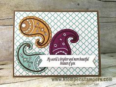 Klompen Stampers (Stampin' Up! Demonstrator Jackie Bolhuis): Paisleys & Posies Card Series: Card #2