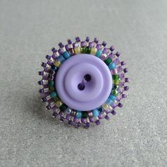 Bead embroidered button ring by TheCrimsonMoon on Etsy #button #beads #ring #jewellery #jewelry #lilac #handmade #beaded
