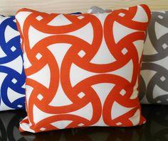 Schumacher orange indoor or outdoor decorative by pillowflightpdx, $38.00