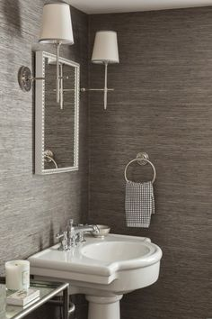 like the grasscloth wallpaper. The grey/silver grasscloth brings texture into this monochromatic powder room design. Grey Grasscloth Wallpaper, Powder Room Wallpaper, Vinyl Wallpaper, Bathroom Wallpaper Grey, Wallpaper For Kitchen, Wallpaper For Walls, Charcoal Wallpaper, Washable Wallpaper, Chic Wallpaper