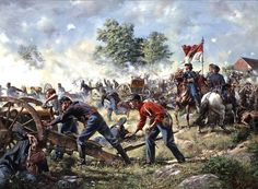 """""""Retreat by Recoil"""" the 9th Massachusetts battery fights a rear guard action by the Trostle farm, at Gettysburg, July 2, 1863."""