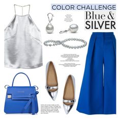"""Rock This Look: Blue and Silver"" by pearlparadise ❤ liked on Polyvore featuring H&M, Roksanda, Marc by Marc Jacobs, Lipsy, StyleNanda, ESCADA, contestentry, colorchallenge, blueandsilver and pearljewelry"