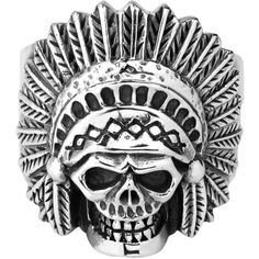 Native American Indian Chief Skull .925 Silver Ring 9 - AeraVida ($57) ❤ liked on Polyvore featuring jewelry, rings, skull jewelry, indian jewellery, silver rings, silver jewelry and native american indian rings