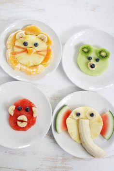 AnimalShaped Fruit Snacks Ideas is part of Healthy fruit snacks - Turn healthy fruit snacks into adorable circus animal faces no special knife skills or kitchen gadgets required Simple for mom and so much fun for kids! Cute Snacks, Healthy Snacks For Kids, Easy Snacks, Cute Food, Kid Snacks, Preschool Snacks, Toddler Snacks, Healthy Fruit Snacks, Healthy Food