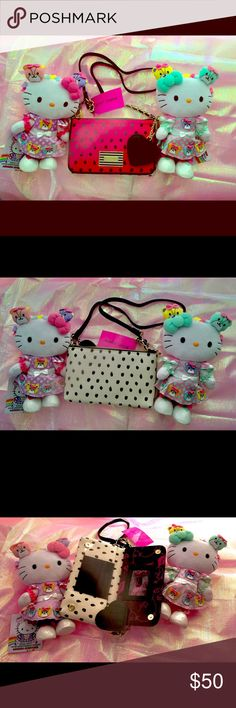 143a94b5fc6d83 Betsey Johnson Polka dot Cross body 💗👛 Adorable pink front side  white  back side