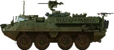 US Army/USMC IAV Stryker or M1126 Infantry Carrier Vehicle (2002). The 105 mm armed M1128 Mobile Gun System (MGS) was developed over this platform
