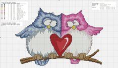 Miłość sowy Sovushka i serce, prosty system dla ściegiem krzyżykowym, Sowa, Sovushka