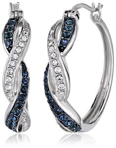 Sterling Silver Montana and White Swarovski Crystal Twisted Hoop Earrings | Earrings--------Twisted sterling silver hoop earrings decorated with two-tone Swarovski crystals---- Click-top backings----- Beautiful,Elegant and Pretty Earrings suitable for Wedding,Casual and Work Wear in Summer/Spring 2016  ------- Great Earrings for Bridesmaid  -------
