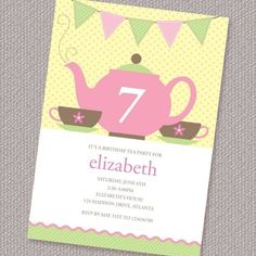 Birthday Tea Party Invitation Printable Custom by paperspice, $16.00